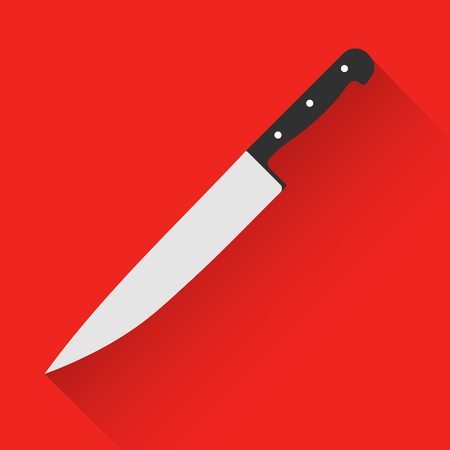 chef knife: kitchen chef knife in flat style. Chef knife icon. Chef knife silhouette. Food tool accessory. Kitchen tool accessory. Restaurant tool
