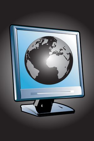 closely: computer display in world Stock Photo