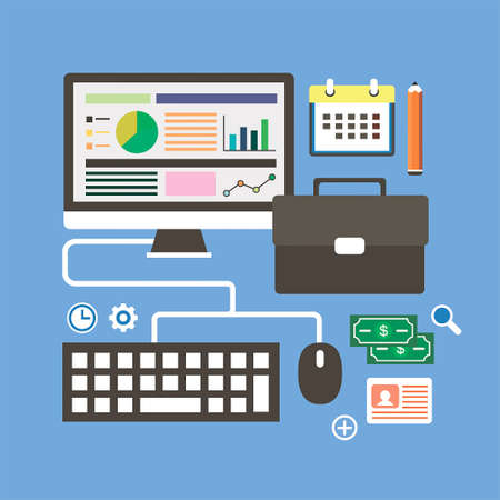 looking through an object: business analyst Illustration