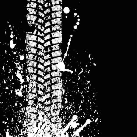 tire imprint: Black tire track banner Illustration
