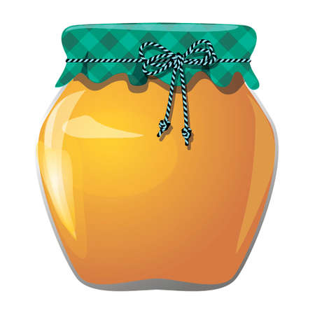 pot miel: pot de miel pr�serv�, isol� sur blanc