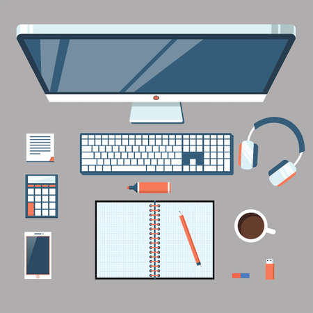 work place: Vector illustration Work place Illustration