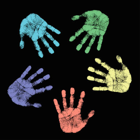symbol people: Vector concept or conceptual circle spiral of colorful hand prints made by children isolated on white background for paint, handprint, symbol, people, identity, together, friendship, play, fun designs