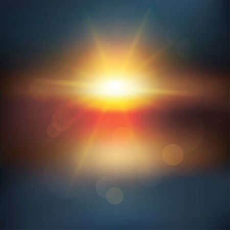sun drenched: Abstract sunset with defocused lights  Illustration