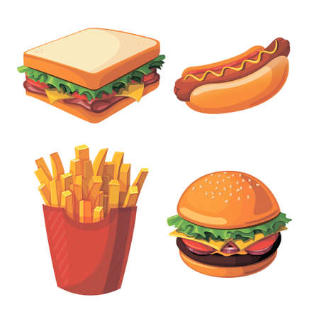unhealthy food: Set of colorful cartoon fast food icons. Isolated vector.