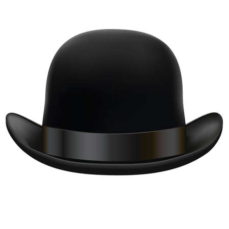 period costume: a black bowler hat on a white background