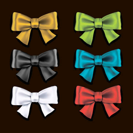 isolation: Collection set of colorful ribbon bows isolation on a black background