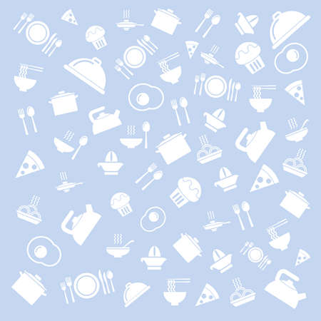 blue white kitchen: Food and drink outline seamless pattern. kitchen background in blue and white. Vector illustration