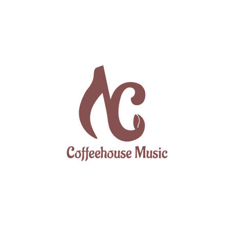 Coffeehouse Music Template. Coffee bean concept music background. Music coffee icon on white background