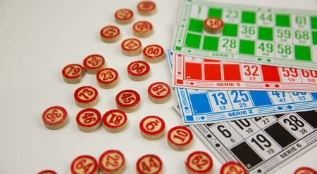 Close-up of the lotto game on a white background Stock Photo