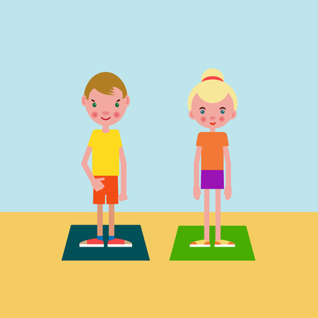 Boy and girl european appearance got ready for the physical exercises and stand on training mats Illustration
