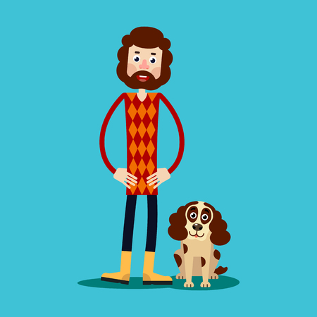 A young guy with a beard stands holding his hands on his hips, and next to him is a dog