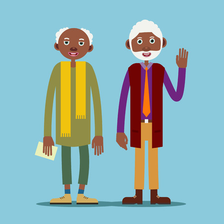 Two african american elderly man stand and smile, and one raised his hand in greeting. Illustration in flat style. Isolated