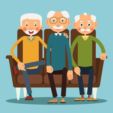 Three elderly men sitting on the sofa. Illustration in flat style. Isolated