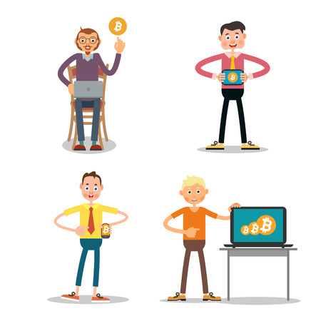 using laptop: Illustration of guys who sell  bitcoin using a mobile phone, laptop, tablet. Illustration