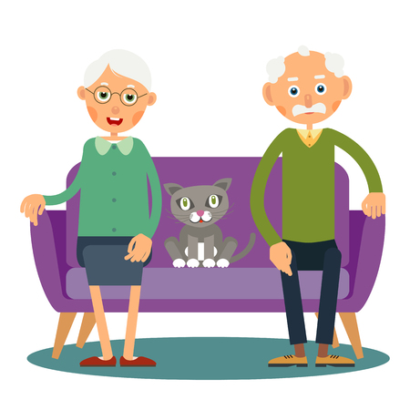 On the sofa sit elderly woman, man and cat. Illustration