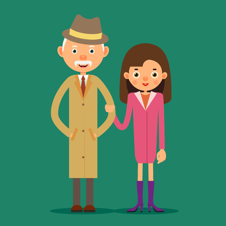 Old man and young girl. An elderly man stands next to a young girl who holds his arm. Grandfather and granddaughter. Illustration in flat style. Isolated