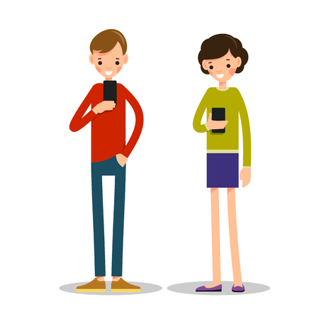 Boy and girl with mobile phone. Young man stands and browses information on a mobile. Young girl stands and reads sms on her phone. Illustration in flat style. Isolated