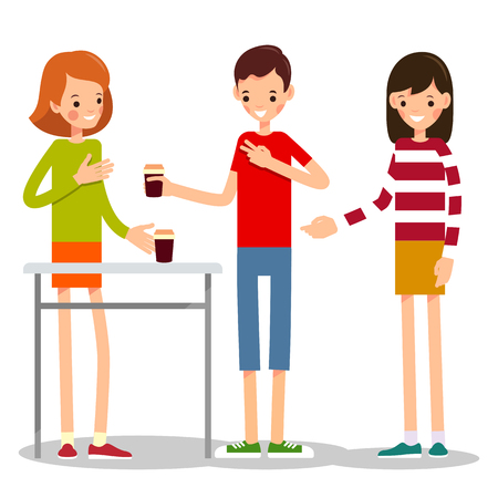 Boy orders a girl a cup of coffee. Young man asks a girl-seller to sell him two cups of coffee. Illustration in flat style. Friend buys a girlfriend a cup of coffee. Isolated