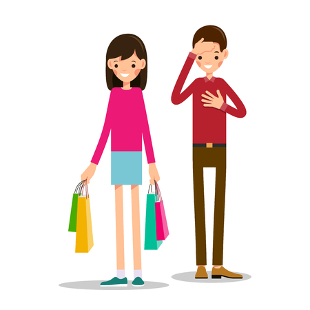Young girl stands and holds shopping bags in both hands. Young man is shocked by number of purchases. One hand of the boy is next to the heart, and the second hand supports head. Illustration in flat style. Isolated Vettoriali