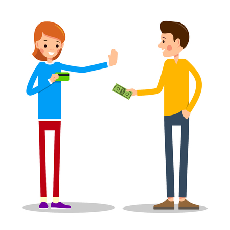 Young man wants to pay for the goods in cash. Young girl-seller warns and shows that calculation is made only with help of a credit card. Illustration in flat style. Isolated