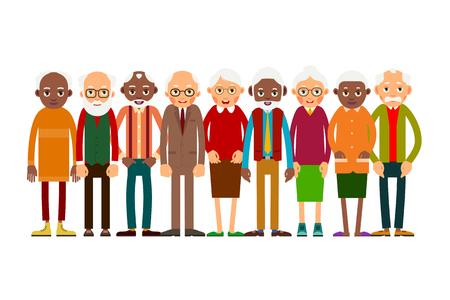 Raggruppa persone anziane. Persone anziane caucasiche e africane. Uomini e donne anziani Illustrazione in stile piano. Isolato Vettoriali