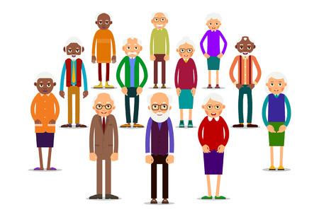 Grupo de personas mayores. Personas de edad caucásica y africana. Hombres y mujeres mayores. Ilustración en estilo plano. Aislado