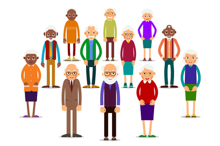 Group older people. Aged people caucasian and african. Elderly men and women. Illustration in flat style. Isolated Vettoriali