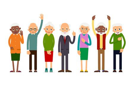 Grupo de ancianos gesticulando. Personas de edad caucásica y africana. Ancianos, hombres y mujeres. Ilustración en estilo plano. Aislado