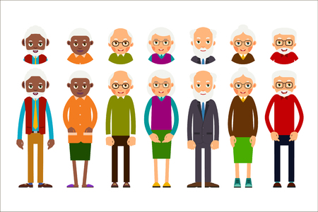 Set of diverse elderly people with avatars on white background. Elderly men and women. Illustration in flat style. Stock Illustratie