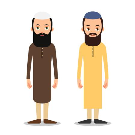 アラブ系やイスラム教徒の男性は、伝統的な服で立っています。フラット スタイルの白い背景の上のイスラム教の代表の分離文字は。  イラスト・ベクター素材