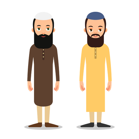 Arab or Muslim man stand in the traditional clothing. Isolated characters of representatives of Islam on a white background in a flat style. Illustration