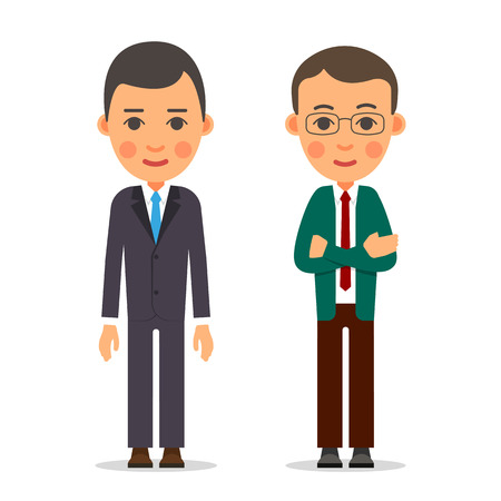 Young business man. Businessman stands with downcast hands and manager standing with folded arms. Dark suit, shirt, blue and red tie. Illustration in flat style.