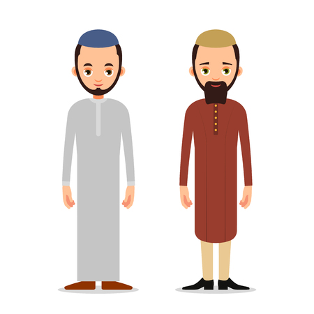 Muslim man or Arab man stand in the traditional clothing. Isolated characters of representatives of Islam on a white background in a flat style.