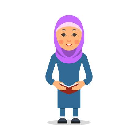 Arab or Muslim student. Woman stand in the traditional clothing and reading book. Isolated characters of representatives of Islam on a white background in a flat style. Vectores