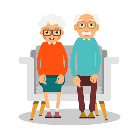 Old people sitting. On the sofa sit elderly woman and man. Family portrait of elderly people. Married couple of pensioners at home on vacation. Illustration in flat style. Isolated.  Çizim