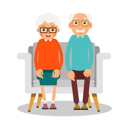 Oude mensen zitten. Op de bank zitten oudere vrouw en man. Familieportret van ouderen. Echtpaar van gepensioneerden thuis op vakantie. Illustratie in vlakke stijl. Geïsoleerd.
