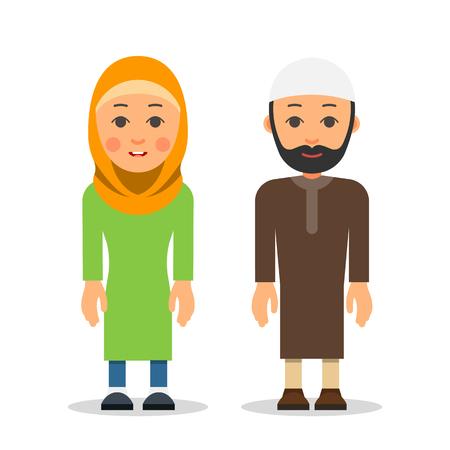 アラブ人かイスラム教徒のカップル女性と男は伝統的な衣服で一緒に立っています。フラットなスタイルで白い背景にイスラム教の代表の孤立した  イラスト・ベクター素材