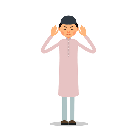 Muslim prayer. Muslim, Islamic man stand and pray. Male muslim praying. Performance of Muslim prayer by man with raised hands. Illustration in flat style. Isolated.