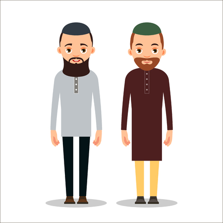 Muslim man or Arab man. Cartoon character stand in the traditional clothing. Isolated characters of representatives of Islam on a white background in a flat style. Illustration