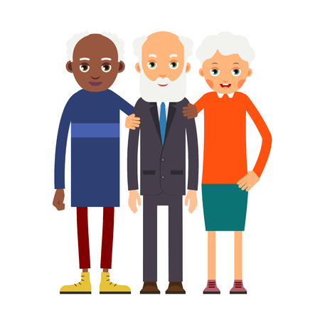 Group older people. Three aged people black and white. Elderly men and women stand together and hug each other. Illustration in flat style. Isolated.
