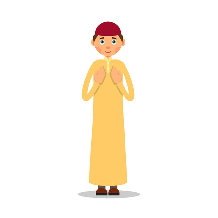 Muslim prayer. Muslim, Islamic man stand and pray. Male muslim praying. Performance of Muslim prayer by man with raised hands. Illustration in flat style. Isolated.  Illustration