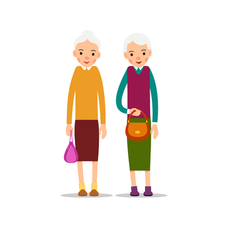 Two old woman. Two senior, elder women with women's handbags, cartoon illustration isolated on white background in flat style. Full length portrait of old ladies, senior or grandmother.