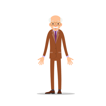 Elderly man is stand and spreads his arms out to sides. Cartoon illustration isolated on white background in flat style. Full length portrait of old human, senior or grandfather.