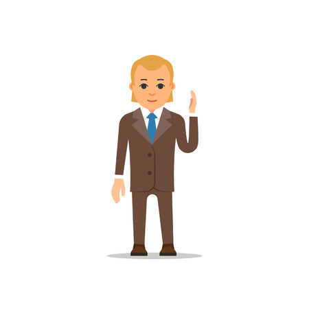 Business man stand and raising up one's hand. Brown suit, shirt and blue tie. Cartoon illustration isolated on white background in flat style. Illustration