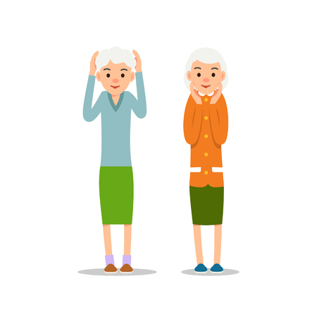 Old woman. Two senior stand with his arms up, his head in hands. Illustration isolated on white background in flat style. Full length portrait of old ladies, senior or grandmother.