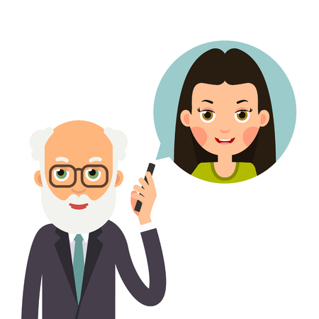 Grandfather with phone. Elderly man holds phone in her hand and represents image of granddaughter with whom she talks. Cartoon illustration isolated on white background in flat style.