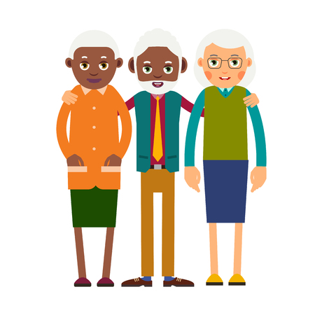 Group older people. Three aged people stand. Elderly men and women stand together and hug each other. Illustration, isolated on white background in flat style.