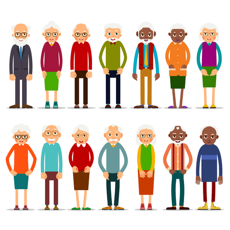 Set of diverse elderly people with avatars isolated on white background. Aged people  Illustration in flat style. Illustration