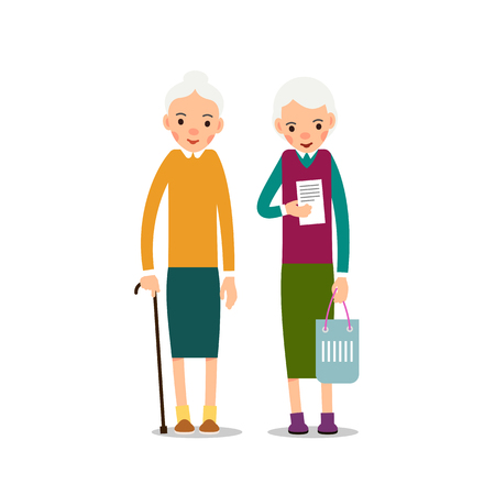 Old woman. Elderly woman is standing with wand in hand, second lady is holding record, in hand is handbag. Illustration isolated on white background in flat style. Full length portrait of old ladies, senior or grandmother.
